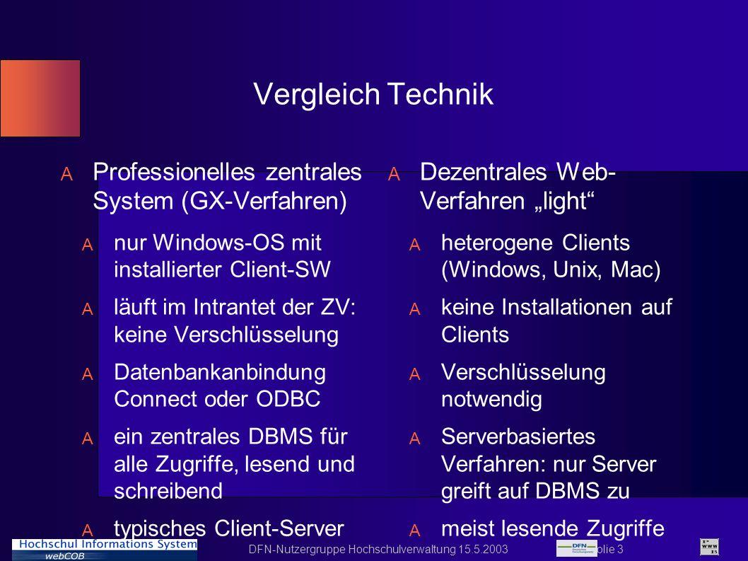 DFN-Nutzergruppe Hochschulverwaltung 15.5.2003 Folie 3 Vergleich Technik A Professionelles zentrales System (GX-Verfahren) A nur Windows-OS mit instal