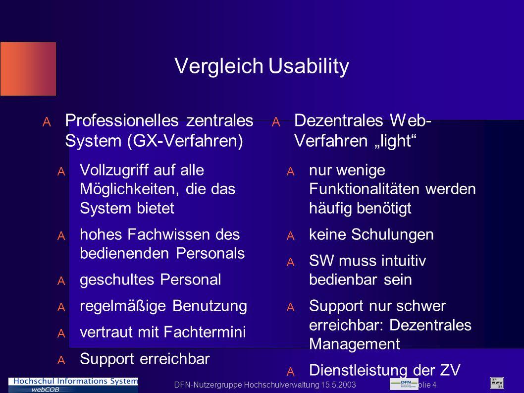 DFN-Nutzergruppe Hochschulverwaltung 15.5.2003 Folie 4 Vergleich Usability A Professionelles zentrales System (GX-Verfahren) A Vollzugriff auf alle Mö