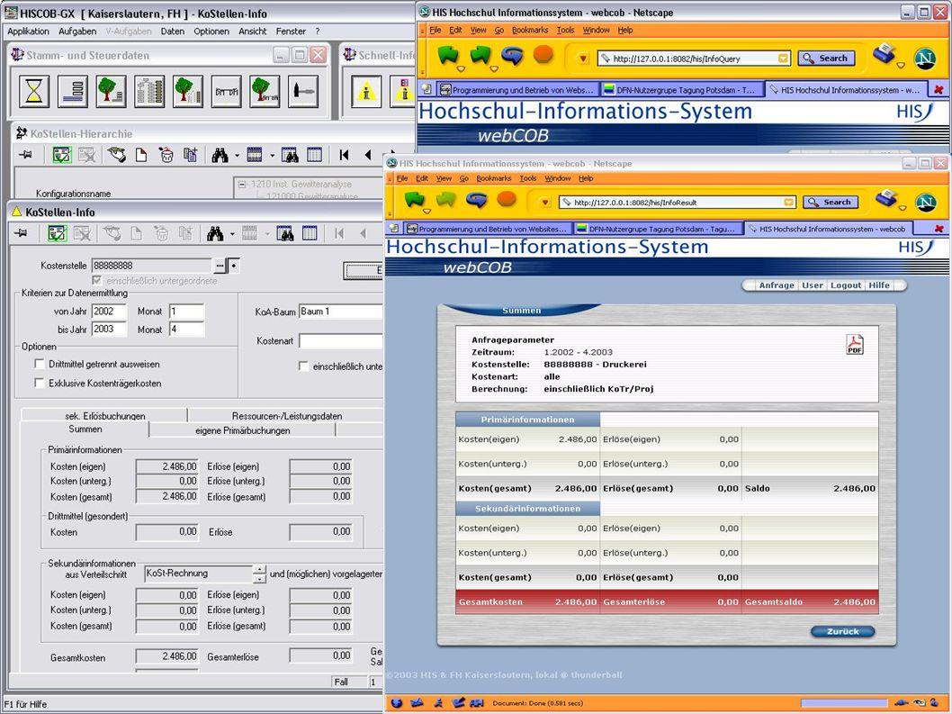 DFN-Nutzergruppe Hochschulverwaltung 15.5.2003 Folie 17 Verwendete Technik A Grundprinzip: möglichst weitgehende Nutzung vorhandener, bewährter SW-Pakete A Grundarchitektur: Jakarta-Projekt mit Tomcat A Verwendung des Velocity-Frameworks zur HTML- Generierung aus Templates A FOP (Formatting Objects Processor) für die pdf- Generierung A Log4j für Logging A JDOM für die Verarbeitung von XML A JNDI und Tomcat 4.1 für ConnectionPool A HSQLDB für die Benutzerdatenbank