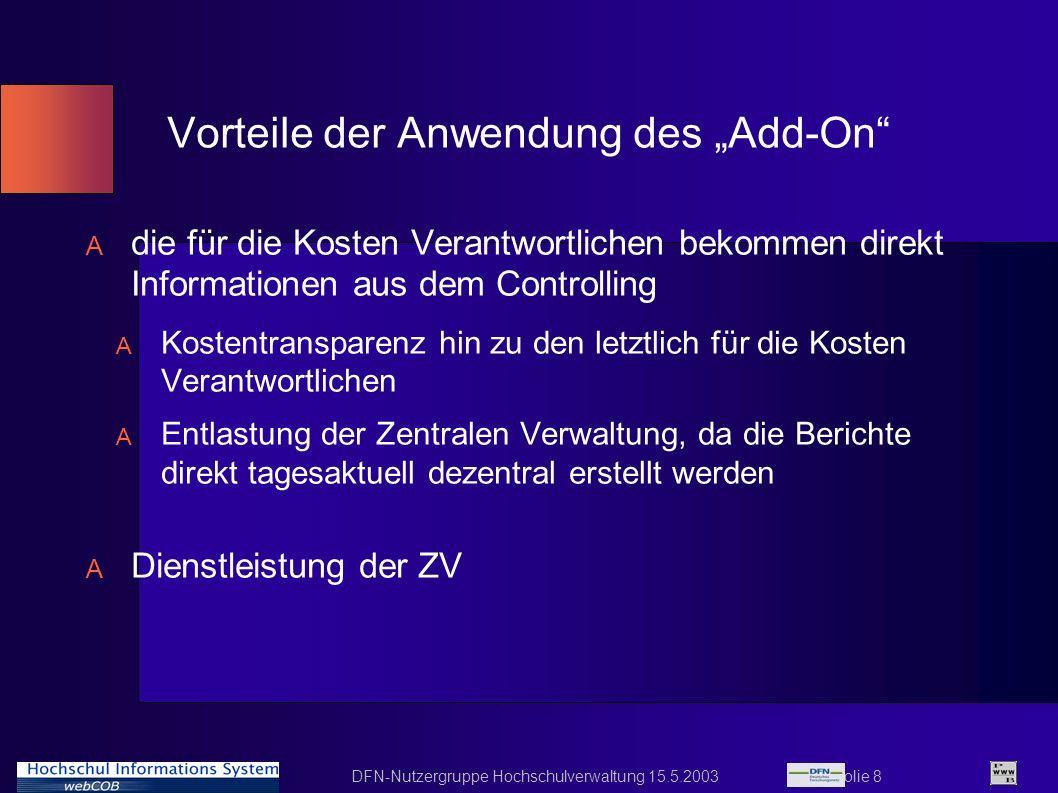 DFN-Nutzergruppe Hochschulverwaltung 15.5.2003 Folie 8 Vorteile der Anwendung des Add-On A die für die Kosten Verantwortlichen bekommen direkt Informa