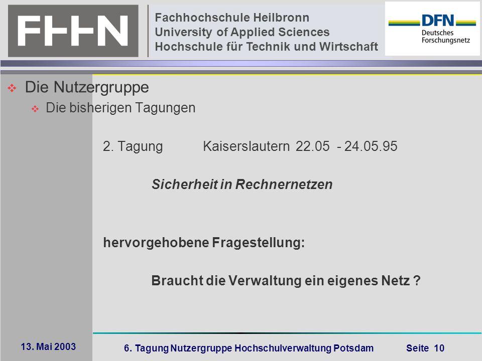 6. Tagung Nutzergruppe Hochschulverwaltung Potsdam Seite 10 Fachhochschule Heilbronn University of Applied Sciences Hochschule für Technik und Wirtsch