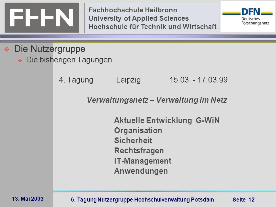6. Tagung Nutzergruppe Hochschulverwaltung Potsdam Seite 12 Fachhochschule Heilbronn University of Applied Sciences Hochschule für Technik und Wirtsch