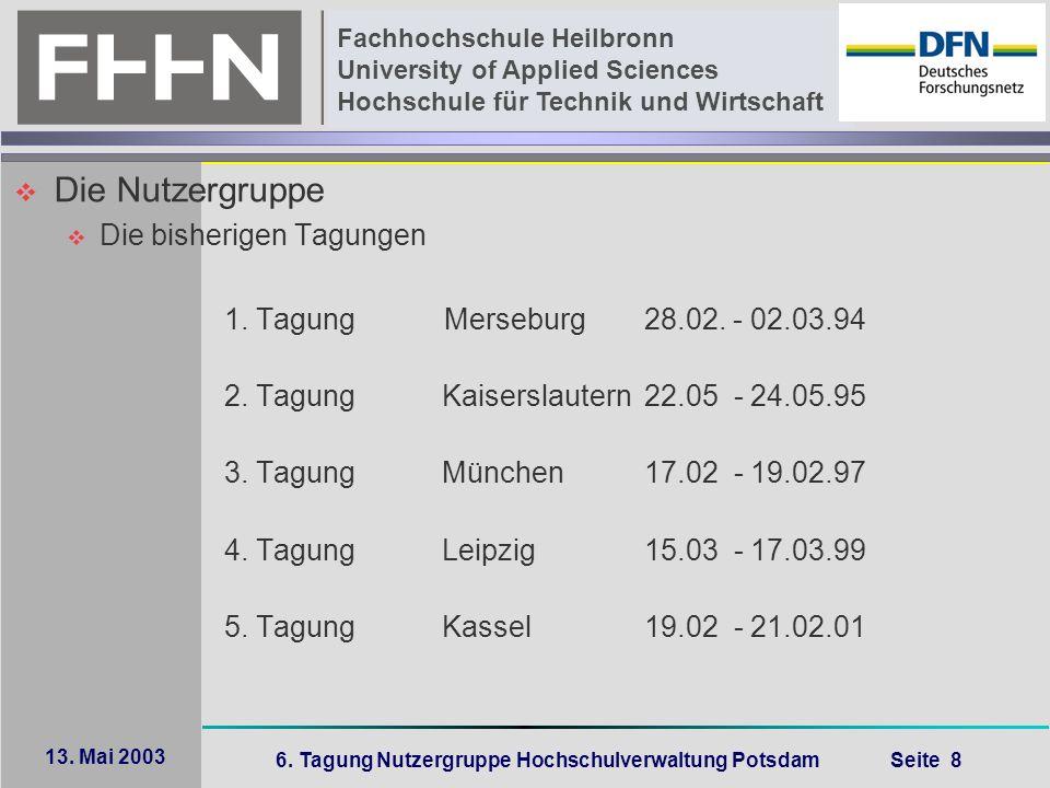 6. Tagung Nutzergruppe Hochschulverwaltung Potsdam Seite 8 Fachhochschule Heilbronn University of Applied Sciences Hochschule für Technik und Wirtscha