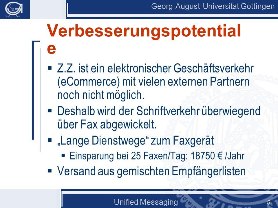 Georg-August-Universität Göttingen Unified Messaging 6 Technisches Systemumfeld Fax Exchange TK LAN Voice PCDrucker FAXVoice BuSy SAP SOS.....