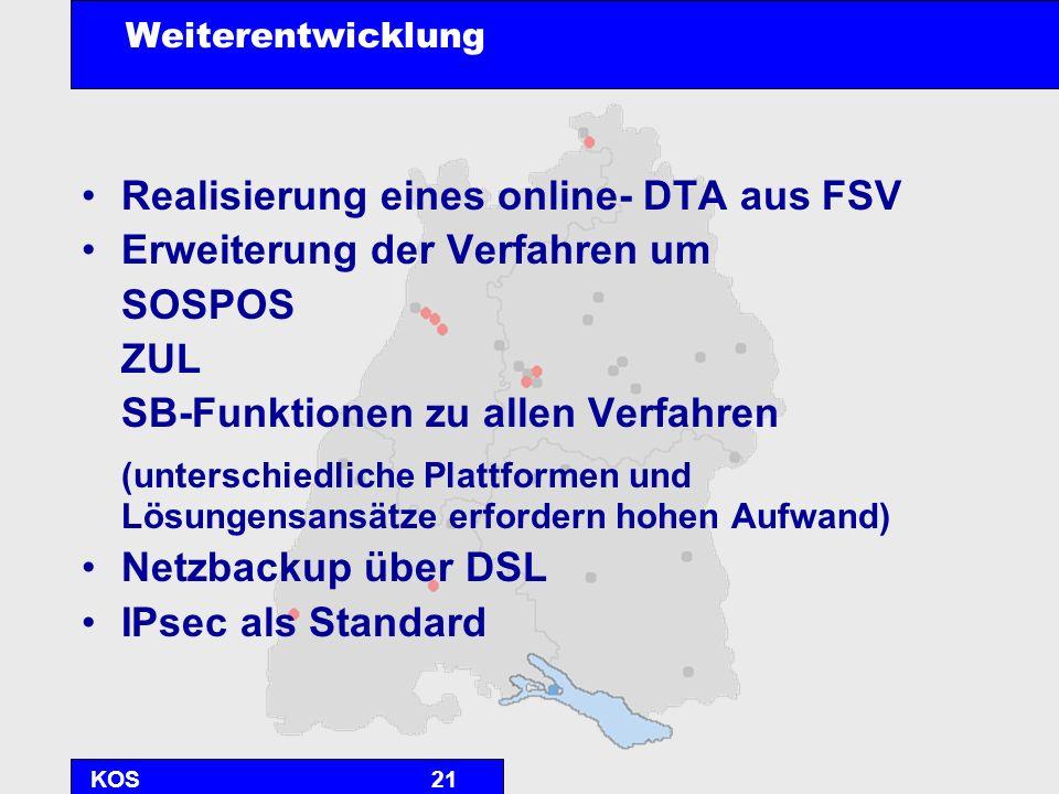 KOS21 Weiterentwicklung Realisierung eines online- DTA aus FSV Erweiterung der Verfahren um SOSPOS ZUL SB-Funktionen zu allen Verfahren (unterschiedli