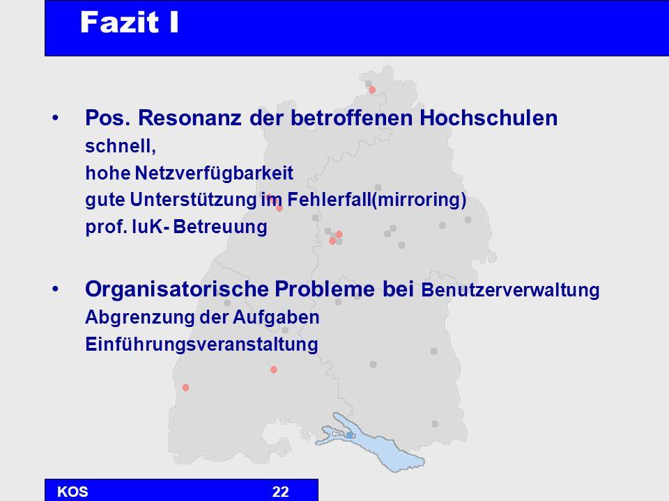 KOS22 Fazit I Pos. Resonanz der betroffenen Hochschulen schnell, hohe Netzverfügbarkeit gute Unterstützung im Fehlerfall(mirroring) prof. IuK- Betreuu