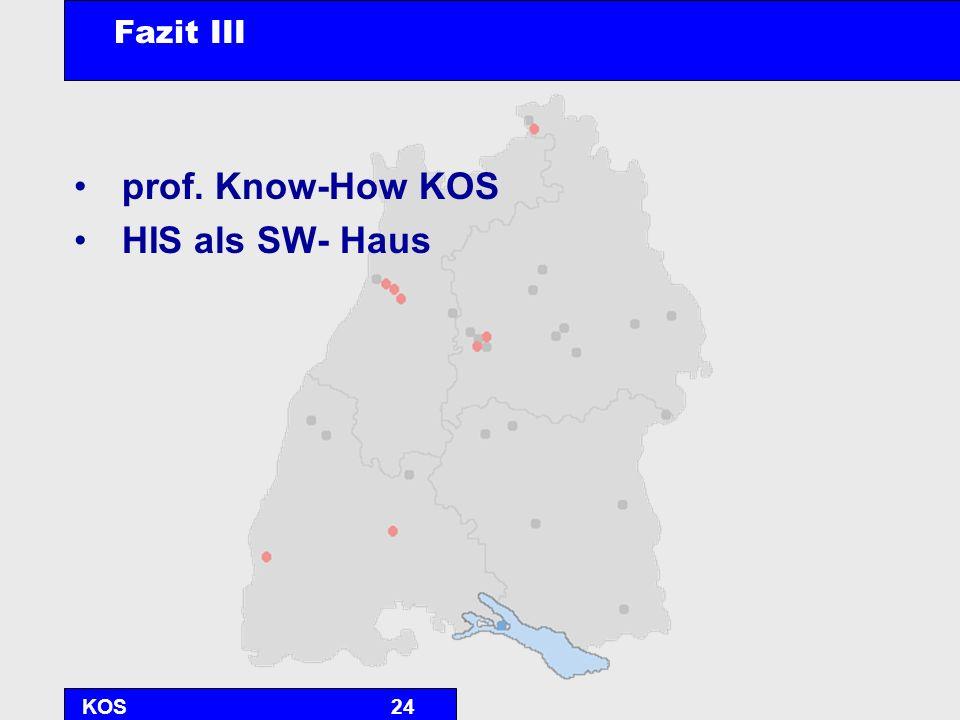 KOS24 Fazit III prof. Know-How KOS HIS als SW- Haus