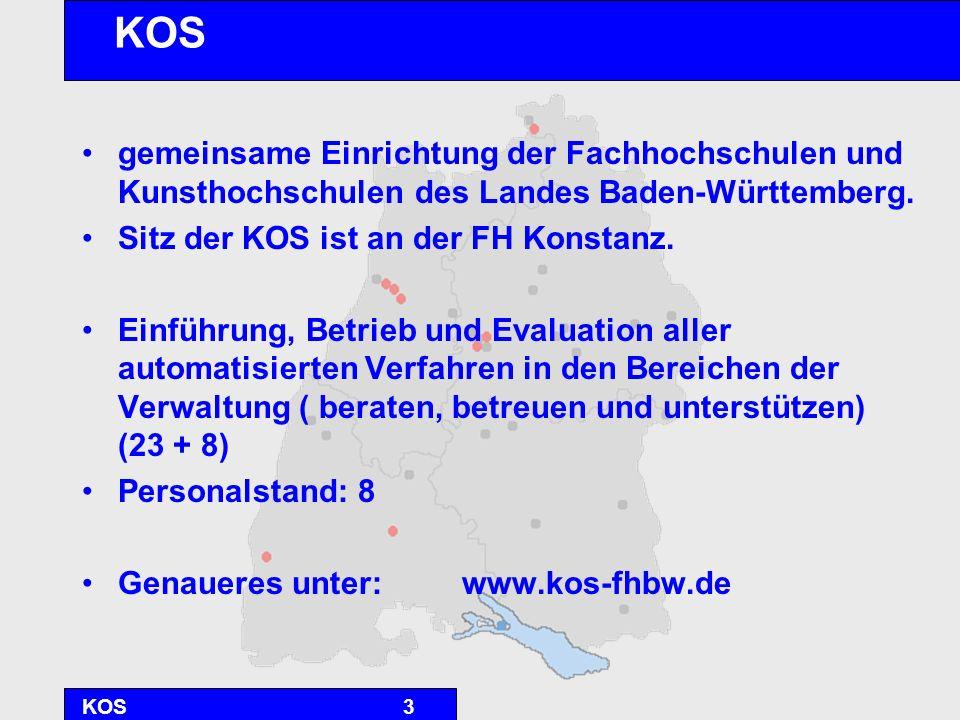 KOS4 Projektvorgeschichte NSI-> Einführung Landes – KLR mit SAP /R3 Sonderweg der Hochschulen mit HIS- Software Entwicklung unterschiedlicher Referenzmodelle im Hinblick auf den Einführungs- und Betreuungs- aufwand im IuK-Bereich Entscheidung der Hochschulen Anfang 2002 - lokale Installation und Betreuung bei 20 FHs (Modell 2) - zentrale Installation und Betreuung durch die KOS bei 8 KHs und 3 FHs (Modell 4)