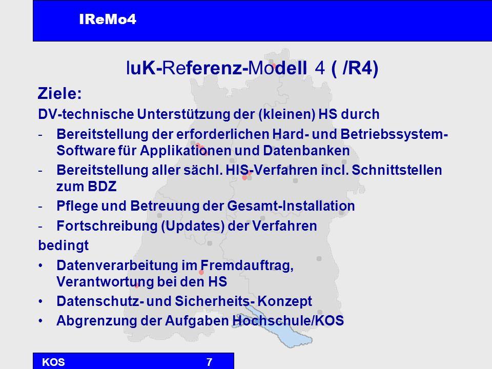 KOS18 Projektstand 16.5.2002Auftrag vom MWK an die KOS Juni 2002Konzept und Ausschreibung DL Juli-Aug 02Feinkonzept und HW-Beschaffung Sept 2002Installation Okt-Dez 02Test- und Konsolidierungsphase 8.1.2003Inbetriebnahme IReMo4 (R4) mit der MH KA 3.3.2003 alle 11 Hochschulen aktiv in R4