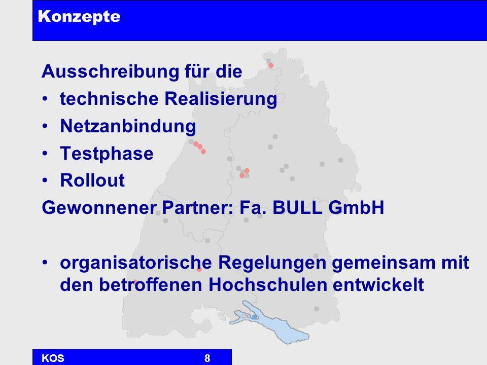 KOS8 Konzepte Ausschreibung für die technische Realisierung Netzanbindung Testphase Rollout Gewonnener Partner: Fa. BULL GmbH organisatorische Regelun