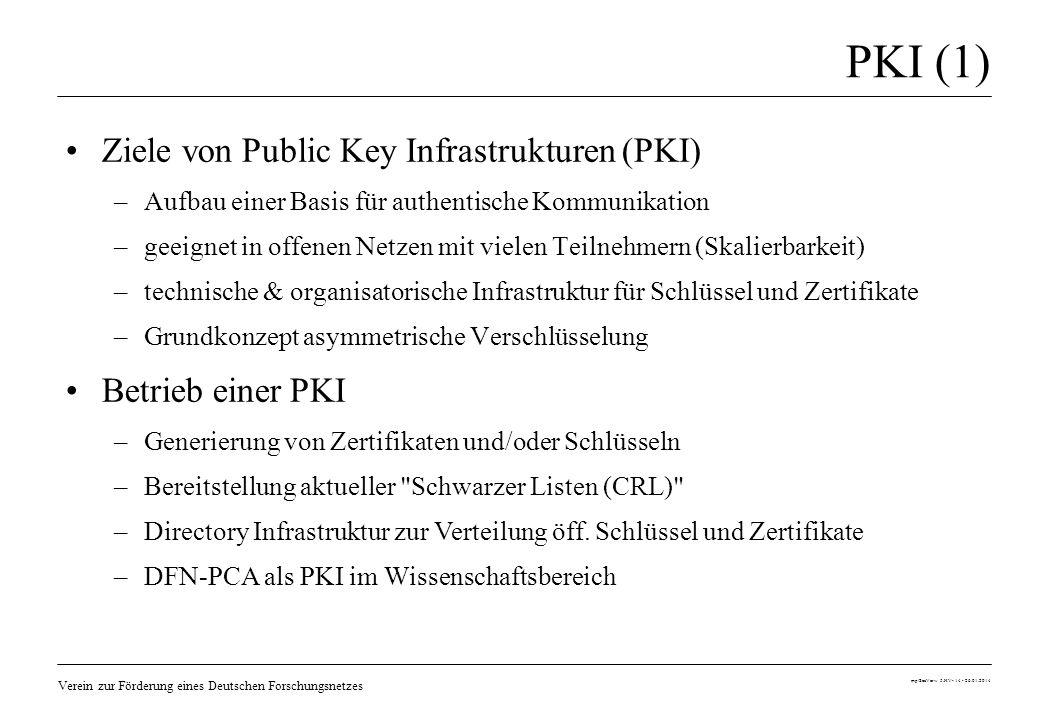 Verein zur Förderung eines Deutschen Forschungsnetzes mp/SecVerw 5.HV- 14 - 26.01.2014 PKI (1) Ziele von Public Key Infrastrukturen (PKI) –Aufbau eine