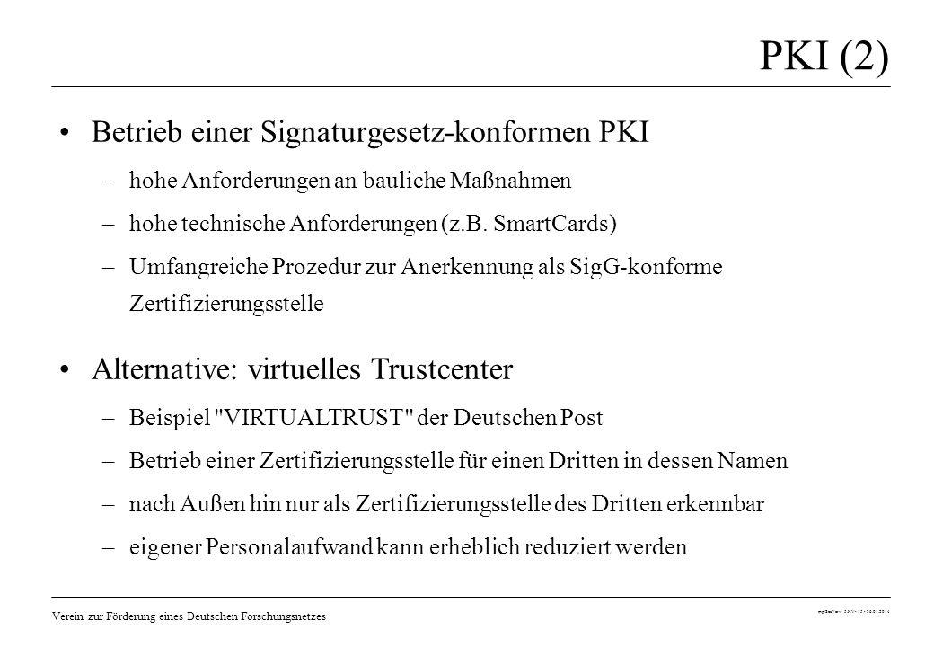 Verein zur Förderung eines Deutschen Forschungsnetzes mp/SecVerw 5.HV- 15 - 26.01.2014 PKI (2) Betrieb einer Signaturgesetz-konformen PKI –hohe Anford