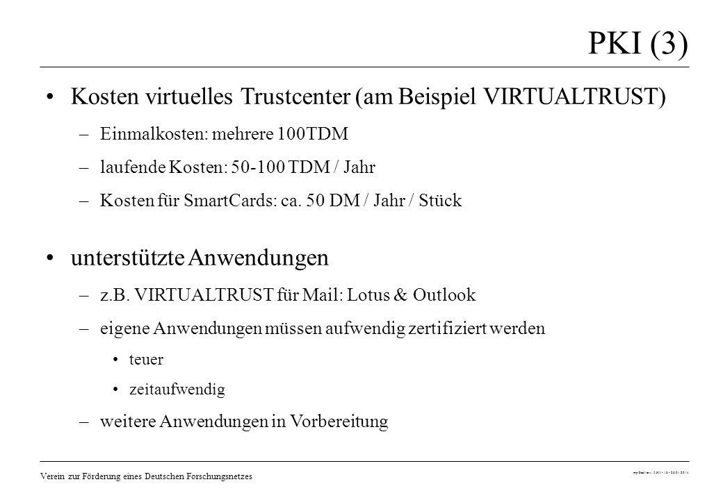 Verein zur Förderung eines Deutschen Forschungsnetzes mp/SecVerw 5.HV- 16 - 26.01.2014 PKI (3) Kosten virtuelles Trustcenter (am Beispiel VIRTUALTRUST
