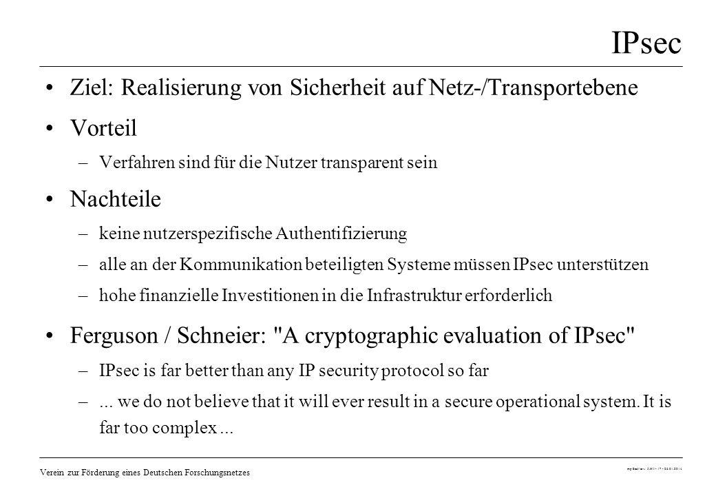 Verein zur Förderung eines Deutschen Forschungsnetzes mp/SecVerw 5.HV- 17 - 26.01.2014 IPsec Ziel: Realisierung von Sicherheit auf Netz-/Transporteben