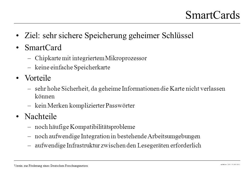 Verein zur Förderung eines Deutschen Forschungsnetzes mp/SecVerw 5.HV- 19 - 26.01.2014 SmartCards Ziel: sehr sichere Speicherung geheimer Schlüssel Sm