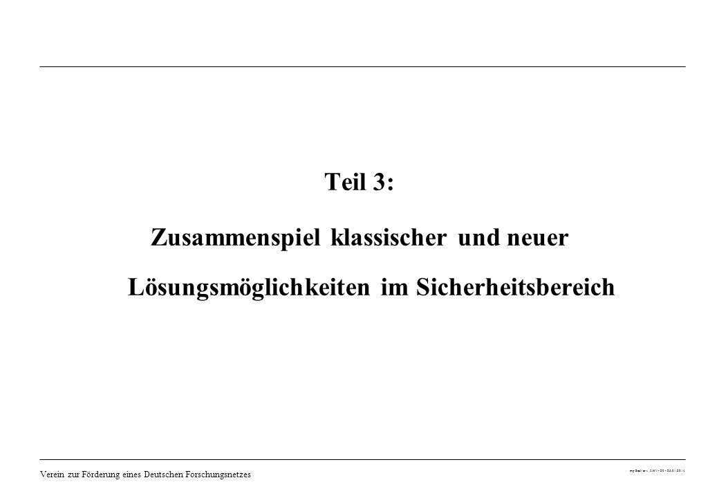 Verein zur Förderung eines Deutschen Forschungsnetzes mp/SecVerw 5.HV- 20 - 26.01.2014 Teil 3: Zusammenspiel klassischer und neuer Lösungsmöglichkeite