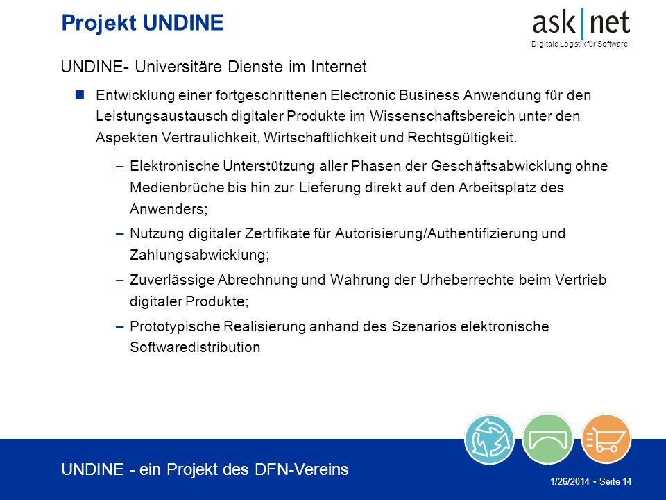 Digitale Logistik für Software 1/26/2014 Seite 14 Projekt UNDINE UNDINE- Universitäre Dienste im Internet Entwicklung einer fortgeschrittenen Electron