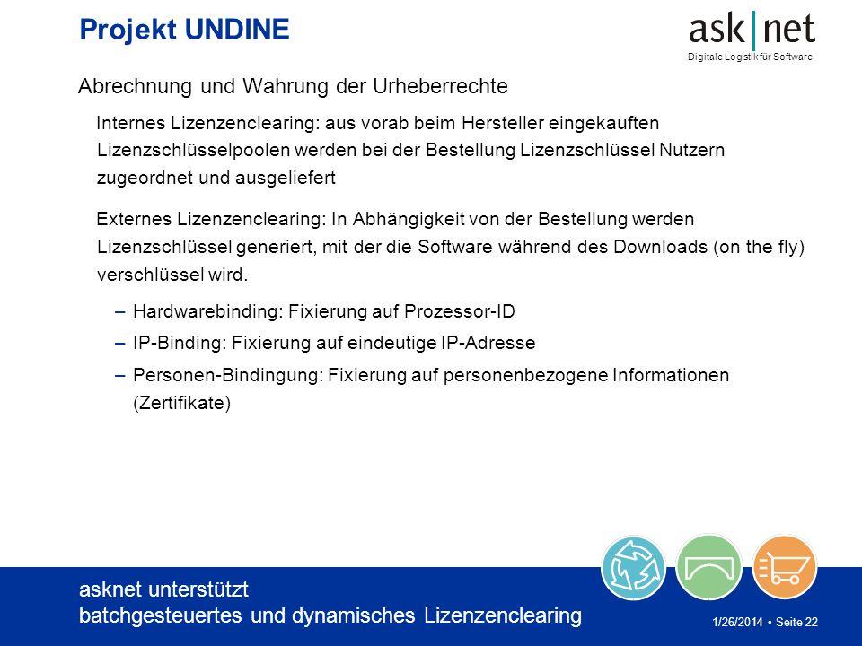 Digitale Logistik für Software 1/26/2014 Seite 22 Projekt UNDINE Abrechnung und Wahrung der Urheberrechte Internes Lizenzenclearing: aus vorab beim He