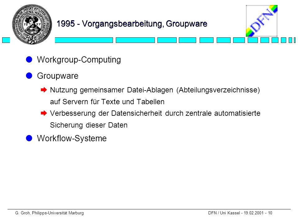 G. Groh, Philipps-Universität Marburg DFN / Uni Kassel - 19.02.2001 - 10 1995 - Vorgangsbearbeitung, Groupware lWorkgroup-Computing lGroupware èNutzun