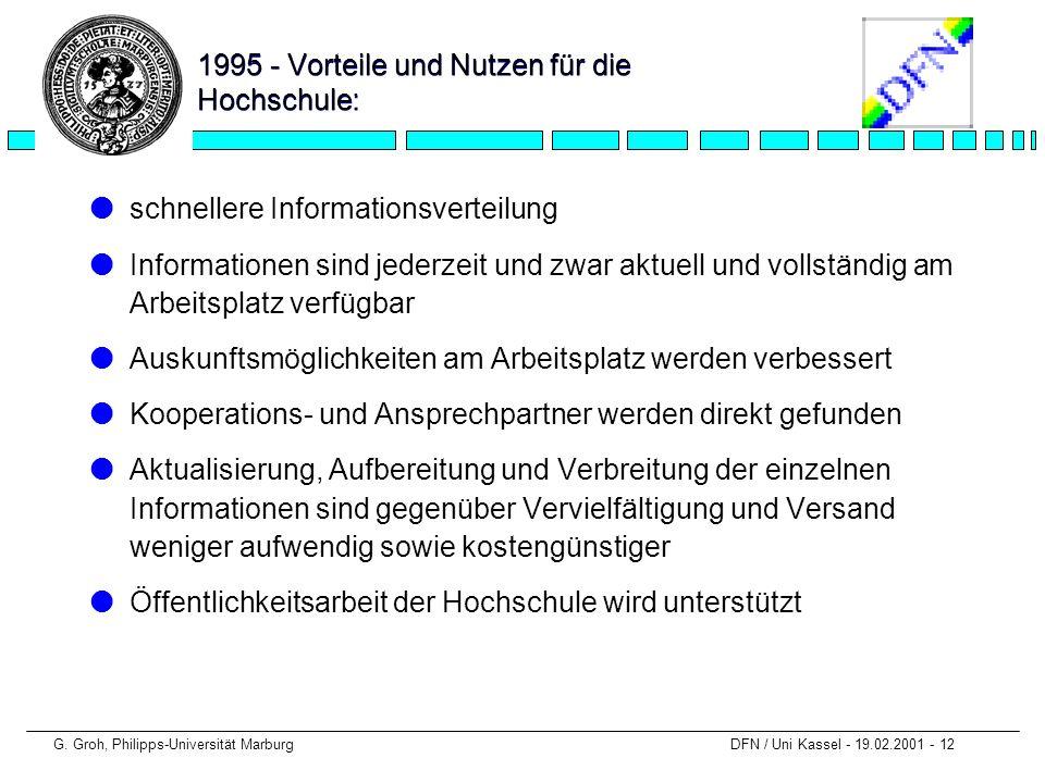 G. Groh, Philipps-Universität Marburg DFN / Uni Kassel - 19.02.2001 - 12 1995 - Vorteile und Nutzen für die Hochschule: lschnellere Informationsvertei