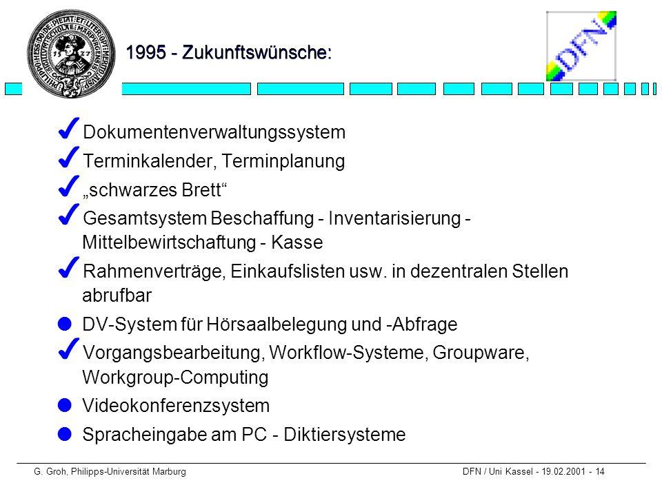 G. Groh, Philipps-Universität Marburg DFN / Uni Kassel - 19.02.2001 - 14 1995 - Zukunftswünsche: 4 Dokumentenverwaltungssystem 4 Terminkalender, Termi