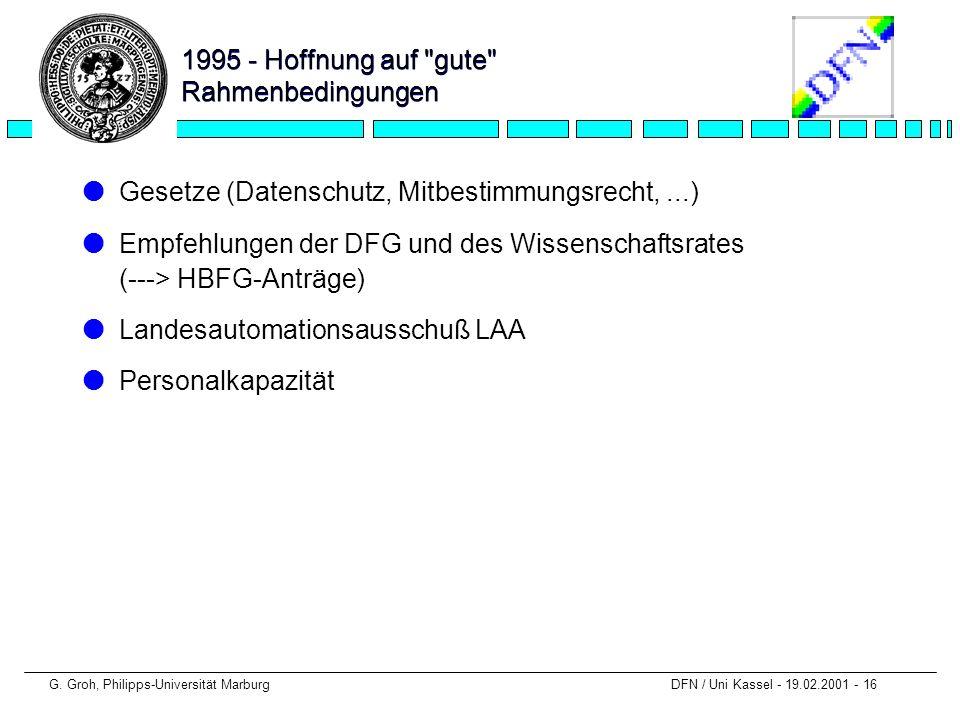 G. Groh, Philipps-Universität Marburg DFN / Uni Kassel - 19.02.2001 - 16 1995 - Hoffnung auf