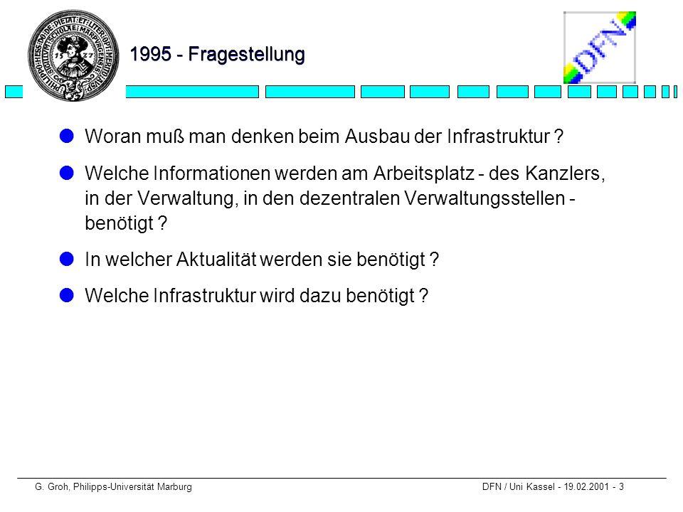 G. Groh, Philipps-Universität Marburg DFN / Uni Kassel - 19.02.2001 - 3 1995 - Fragestellung lWoran muß man denken beim Ausbau der Infrastruktur ? lWe