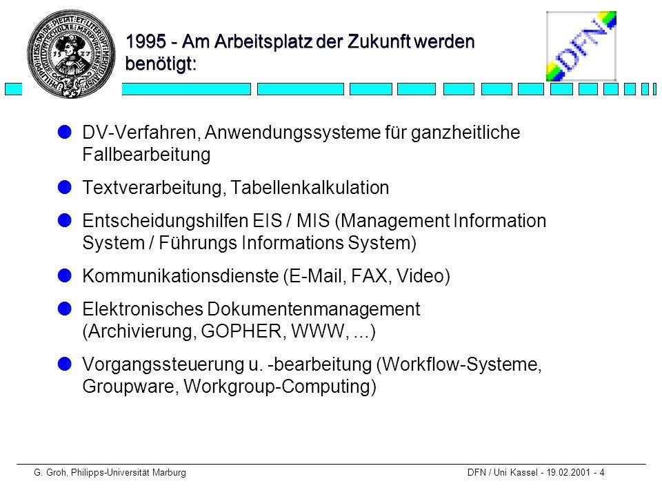 G. Groh, Philipps-Universität Marburg DFN / Uni Kassel - 19.02.2001 - 4 1995 - Am Arbeitsplatz der Zukunft werden benötigt: lDV-Verfahren, Anwendungss