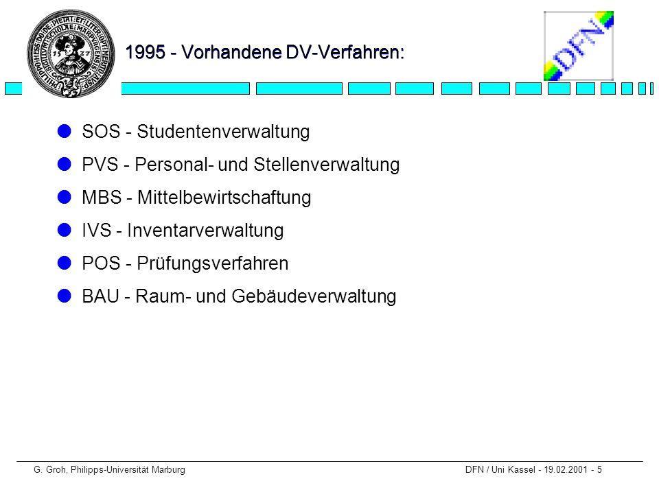 G. Groh, Philipps-Universität Marburg DFN / Uni Kassel - 19.02.2001 - 5 1995 - Vorhandene DV-Verfahren: lSOS - Studentenverwaltung lPVS - Personal- un