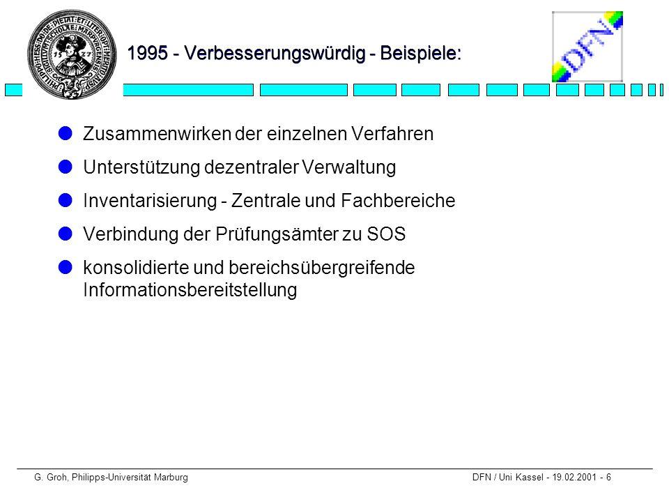 G. Groh, Philipps-Universität Marburg DFN / Uni Kassel - 19.02.2001 - 6 1995 - Verbesserungswürdig - Beispiele: lZusammenwirken der einzelnen Verfahre