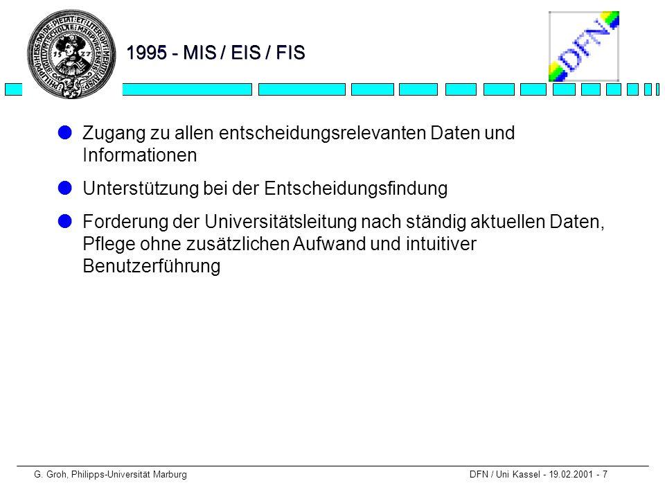 G. Groh, Philipps-Universität Marburg DFN / Uni Kassel - 19.02.2001 - 7 1995 - MIS / EIS / FIS lZugang zu allen entscheidungsrelevanten Daten und Info