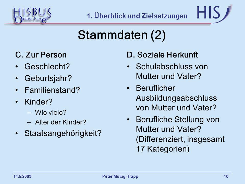 Peter Müßig-Trapp 10 14.5.2003 Stammdaten (2) C. Zur Person Geschlecht? Geburtsjahr? Familienstand? Kinder? –Wie viele? –Alter der Kinder? Staatsangeh