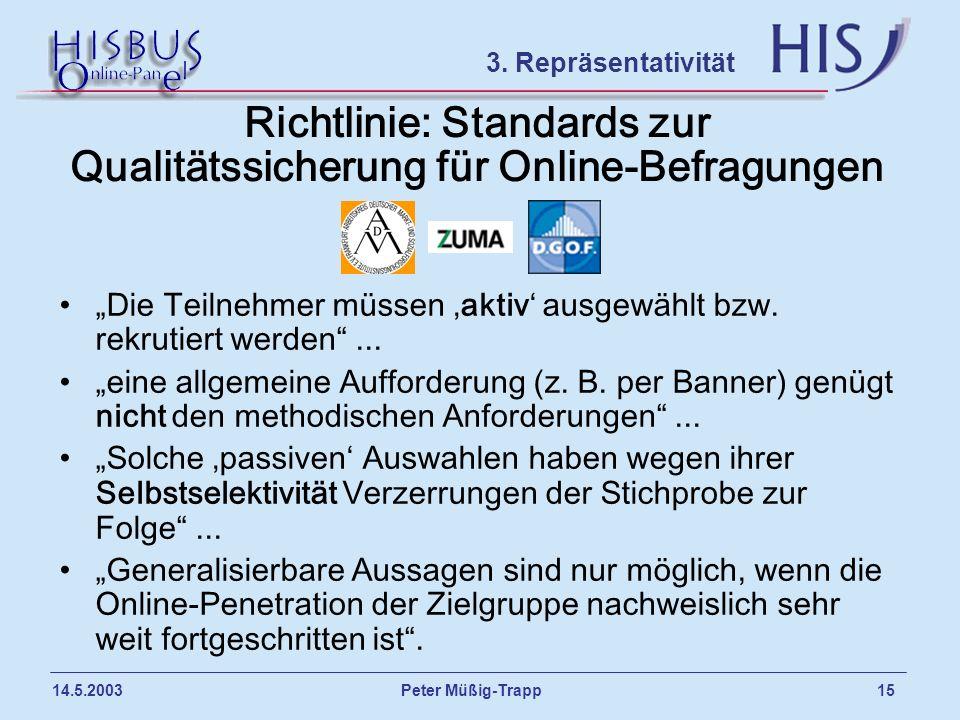 Peter Müßig-Trapp 15 14.5.2003 Richtlinie: Standards zur Qualitätssicherung für Online-Befragungen Die Teilnehmer müssen aktiv ausgewählt bzw. rekruti
