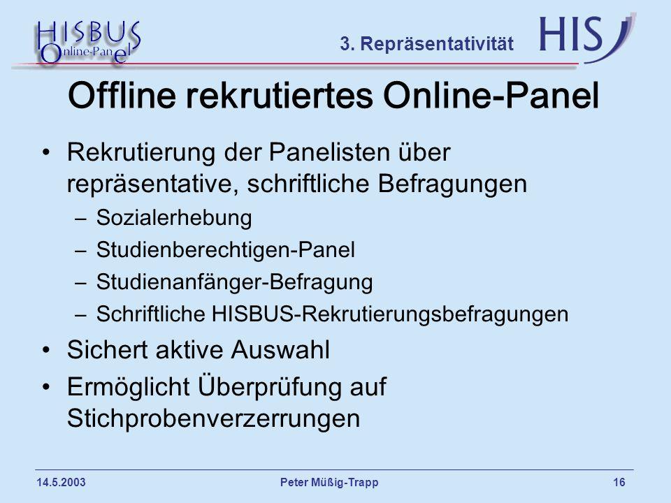 Peter Müßig-Trapp 16 14.5.2003 Offline rekrutiertes Online-Panel Rekrutierung der Panelisten über repräsentative, schriftliche Befragungen –Sozialerhe