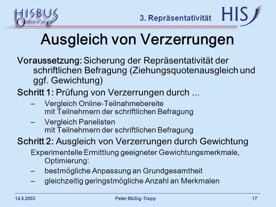 Peter Müßig-Trapp 17 14.5.2003 Ausgleich von Verzerrungen Voraussetzung: Sicherung der Repräsentativität der schriftlichen Befragung (Ziehungsquotenau