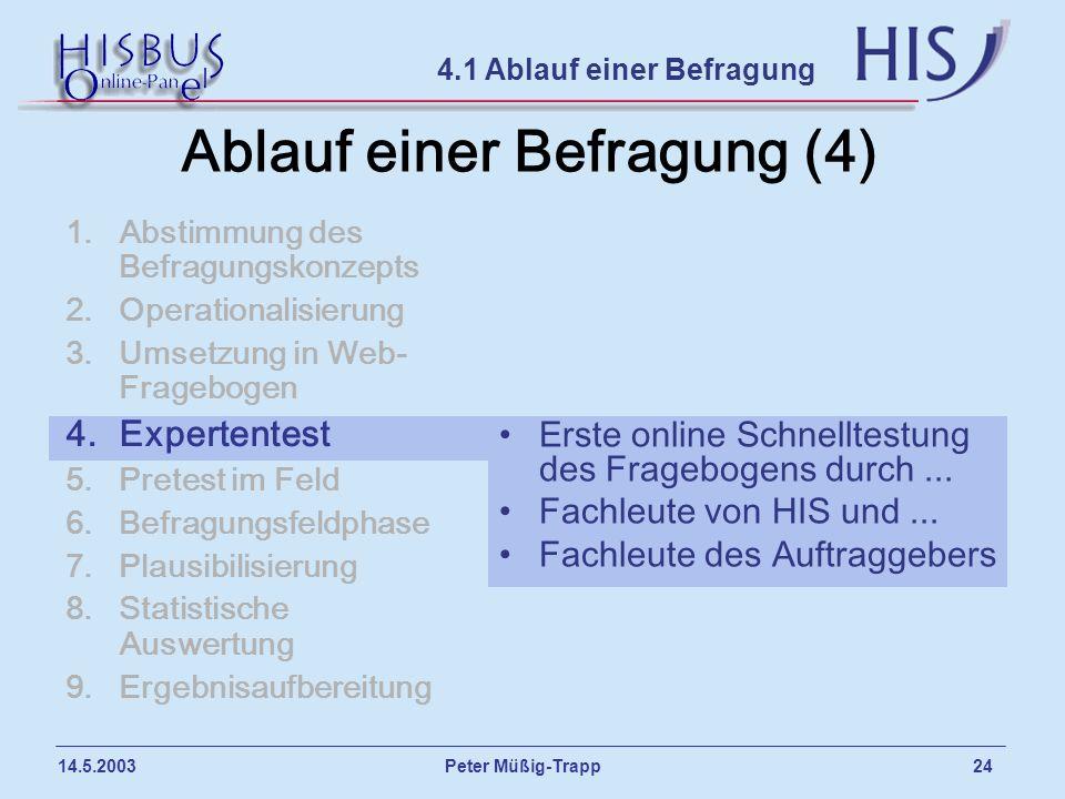 Peter Müßig-Trapp 24 14.5.2003 Ablauf einer Befragung (4) 1.Abstimmung des Befragungskonzepts 2.Operationalisierung 3.Umsetzung in Web- Fragebogen 4.E