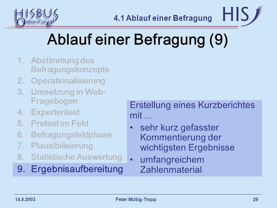 Peter Müßig-Trapp 29 14.5.2003 Ablauf einer Befragung (9) 1.Abstimmung des Befragungskonzepts 2.Operationalisierung 3.Umsetzung in Web- Fragebogen 4.E