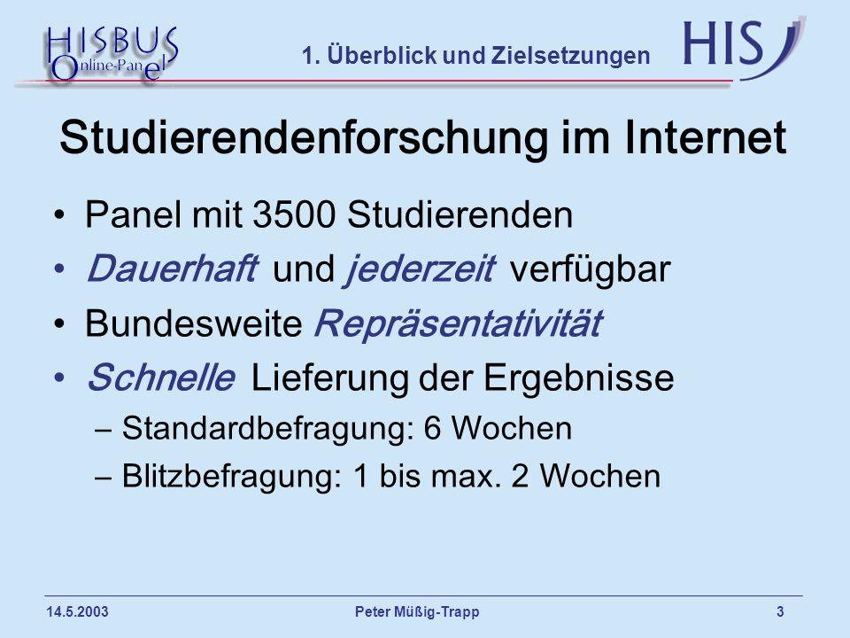Peter Müßig-Trapp 3 14.5.2003 Studierendenforschung im Internet Panel mit 3500 Studierenden Dauerhaft und jederzeit verfügbar Bundesweite Repräsentati