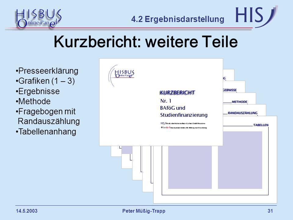 Peter Müßig-Trapp 31 14.5.2003 Kurzbericht: weitere Teile 4.2 Ergebnisdarstellung Presseerklärung Grafiken (1 – 3) Ergebnisse Methode Fragebogen mit R
