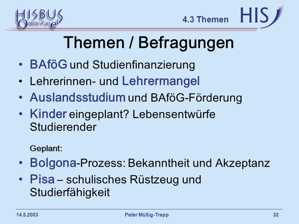 Peter Müßig-Trapp 32 14.5.2003 Themen / Befragungen BAföG und Studienfinanzierung Lehrerinnen- und Lehrermangel Auslandsstudium und BAföG-Förderung Ki