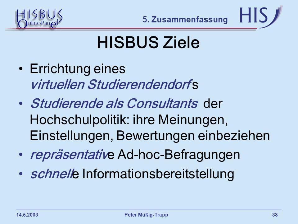 Peter Müßig-Trapp 33 14.5.2003 HISBUS Ziele Errichtung eines virtuellen Studierendendorf s Studierende als Consultants der Hochschulpolitik: ihre Mein
