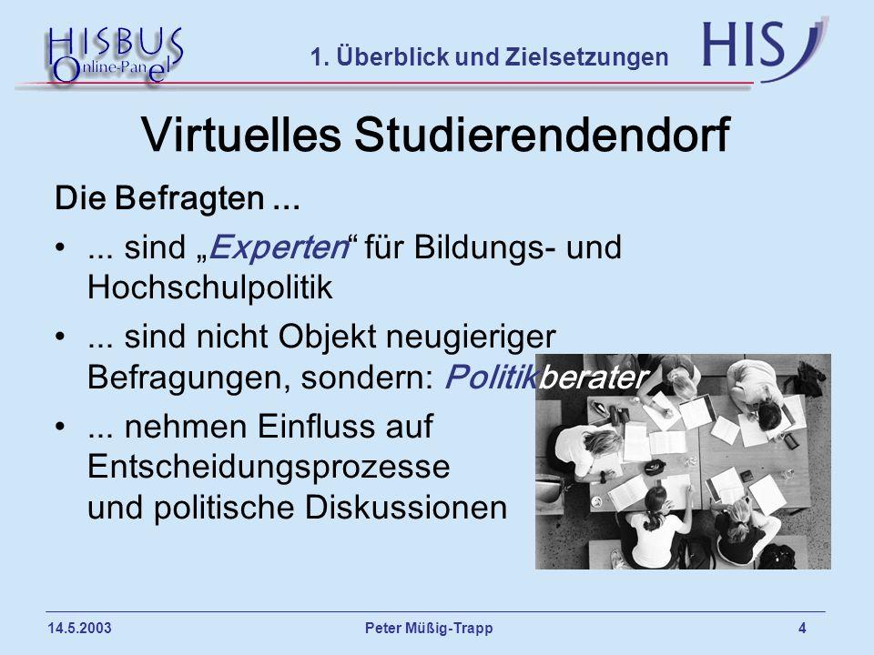 Peter Müßig-Trapp 4 14.5.2003 Virtuelles Studierendendorf 1. Überblick und Zielsetzungen Die Befragten...... sind Experten für Bildungs- und Hochschul