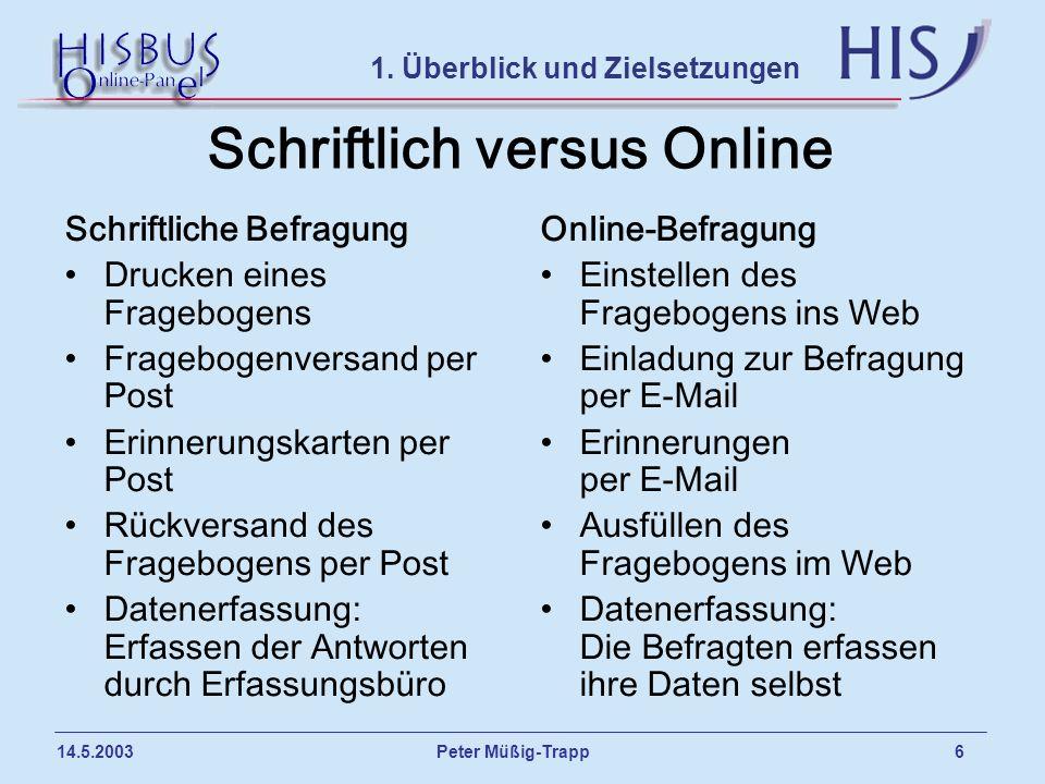 Peter Müßig-Trapp 6 14.5.2003 Schriftlich versus Online Schriftliche Befragung Drucken eines Fragebogens Fragebogenversand per Post Erinnerungskarten