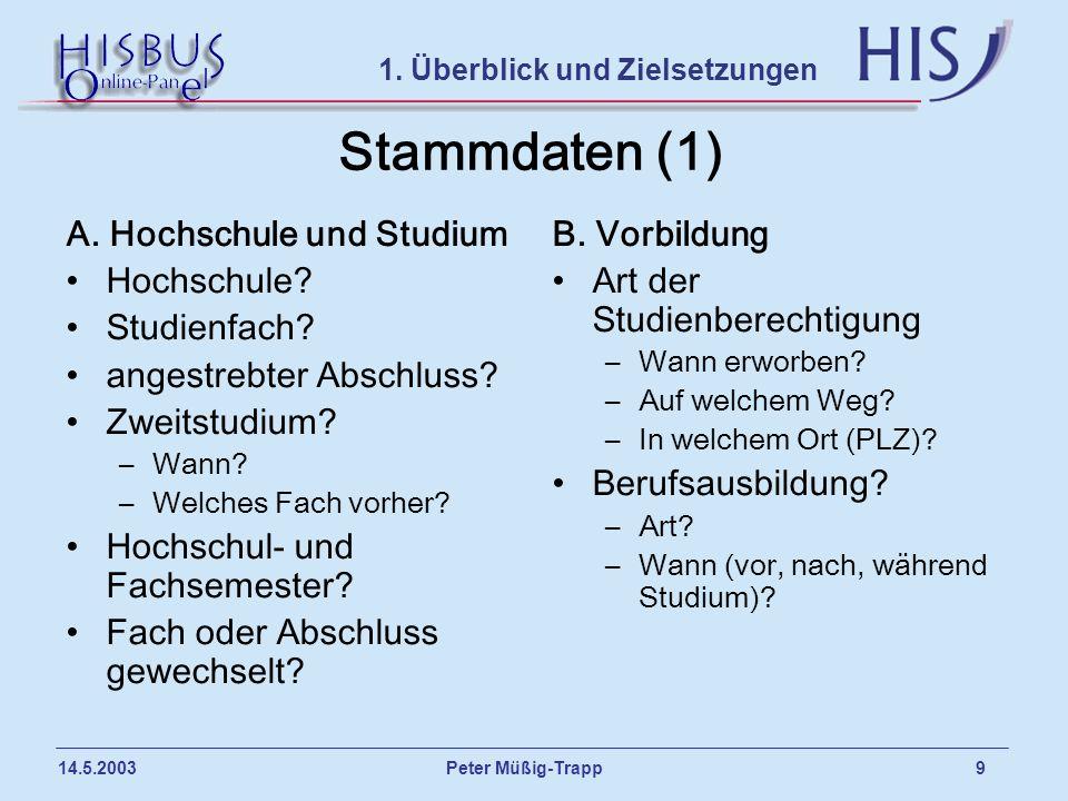 Peter Müßig-Trapp 9 14.5.2003 Stammdaten (1) A. Hochschule und Studium Hochschule? Studienfach? angestrebter Abschluss? Zweitstudium? –Wann? –Welches