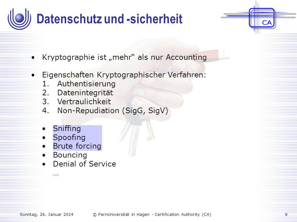 Sonntag, 26. Januar 20149© FernUniversität in Hagen - Certification Authority (CA) Kryptographie ist mehr als nur Accounting Eigenschaften Kryptograph