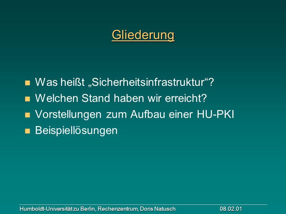 Humboldt-Universität zu Berlin, Rechenzentrum, Doris Natusch 08.02.01 Gliederung n Was heißt Sicherheitsinfrastruktur? n Welchen Stand haben wir errei