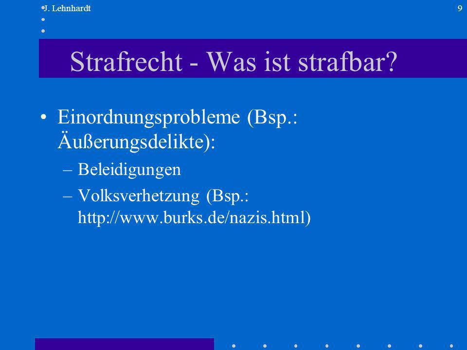 J. Lehnhardt9 Strafrecht - Was ist strafbar.