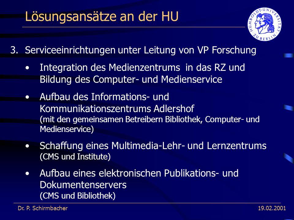 19.02.2001 Lösungsansätze an der HU Dr. P.