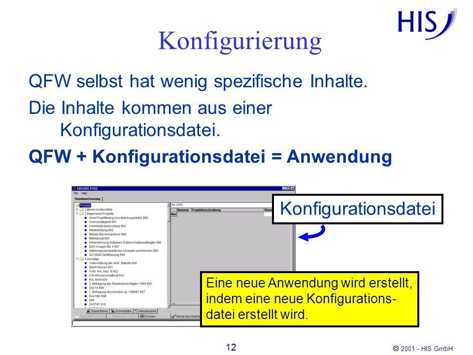 2001 - HIS GmbH 12 Konfigurierung QFW selbst hat wenig spezifische Inhalte. Die Inhalte kommen aus einer Konfigurationsdatei. QFW + Konfigurationsdate
