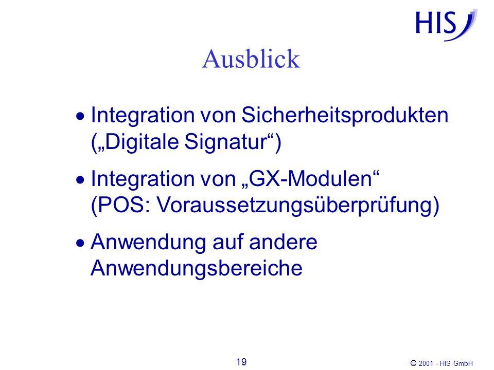 2001 - HIS GmbH 19 Ausblick Integration von Sicherheitsprodukten (Digitale Signatur) Integration von GX-Modulen (POS: Voraussetzungsüberprüfung) Anwen